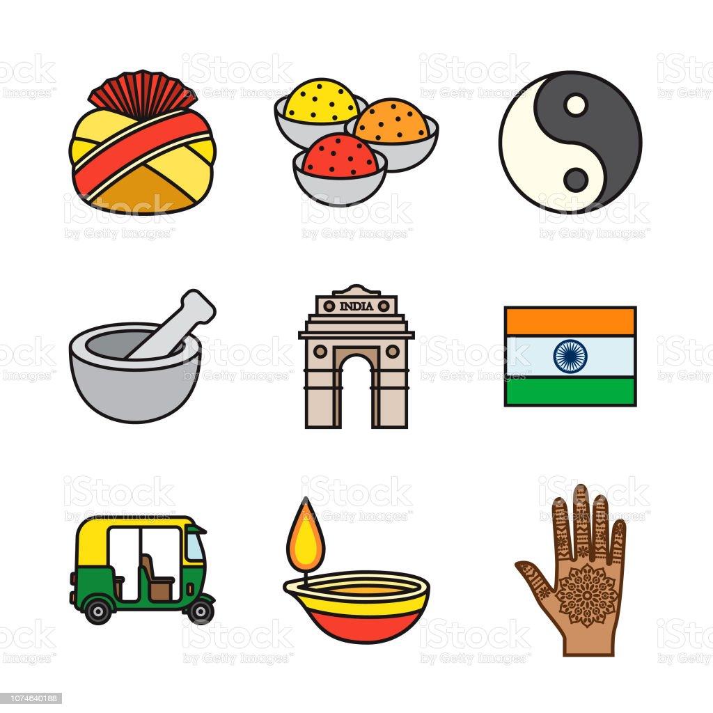L'Inde Thin Line Icon Set - Illustration vectorielle