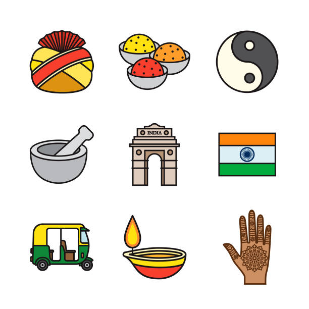 india thin line icon set - indian food stock illustrations, clip art, cartoons, & icons