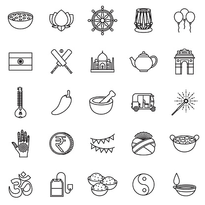 India Thin Line Outline Icon Set