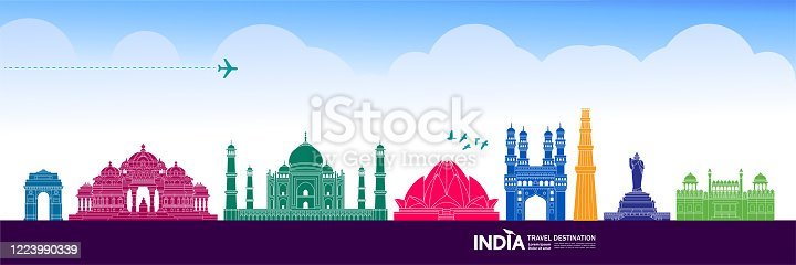India travel poster. India tourism poster design with attractions. time to  travel. india landmark. indians in traditional