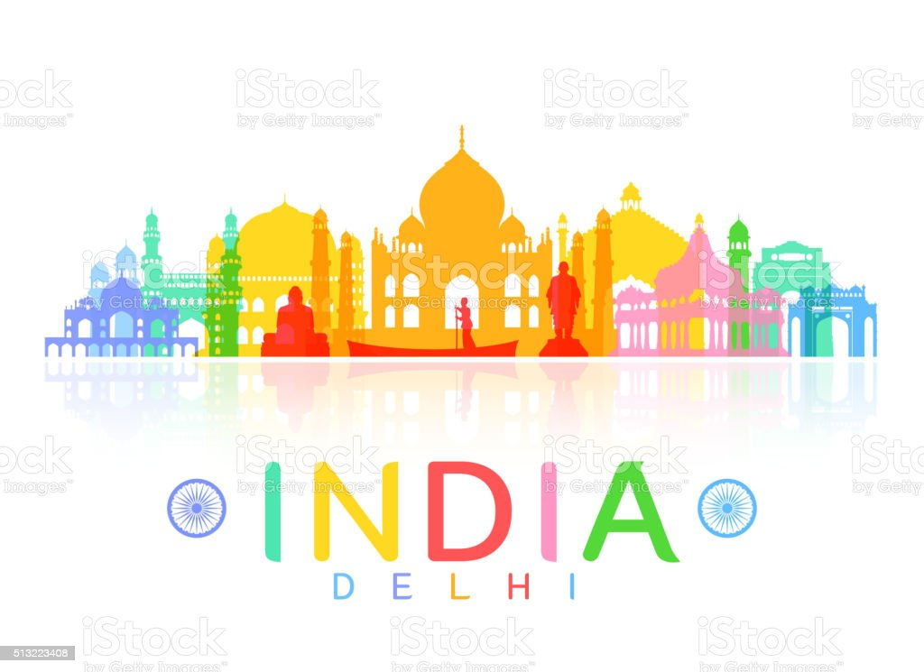 India Travel Landmarks. vector art illustration