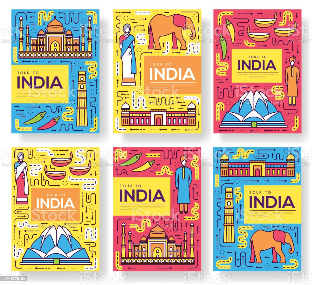 India Vector Brochure Cards Thin Line Set Country Travel