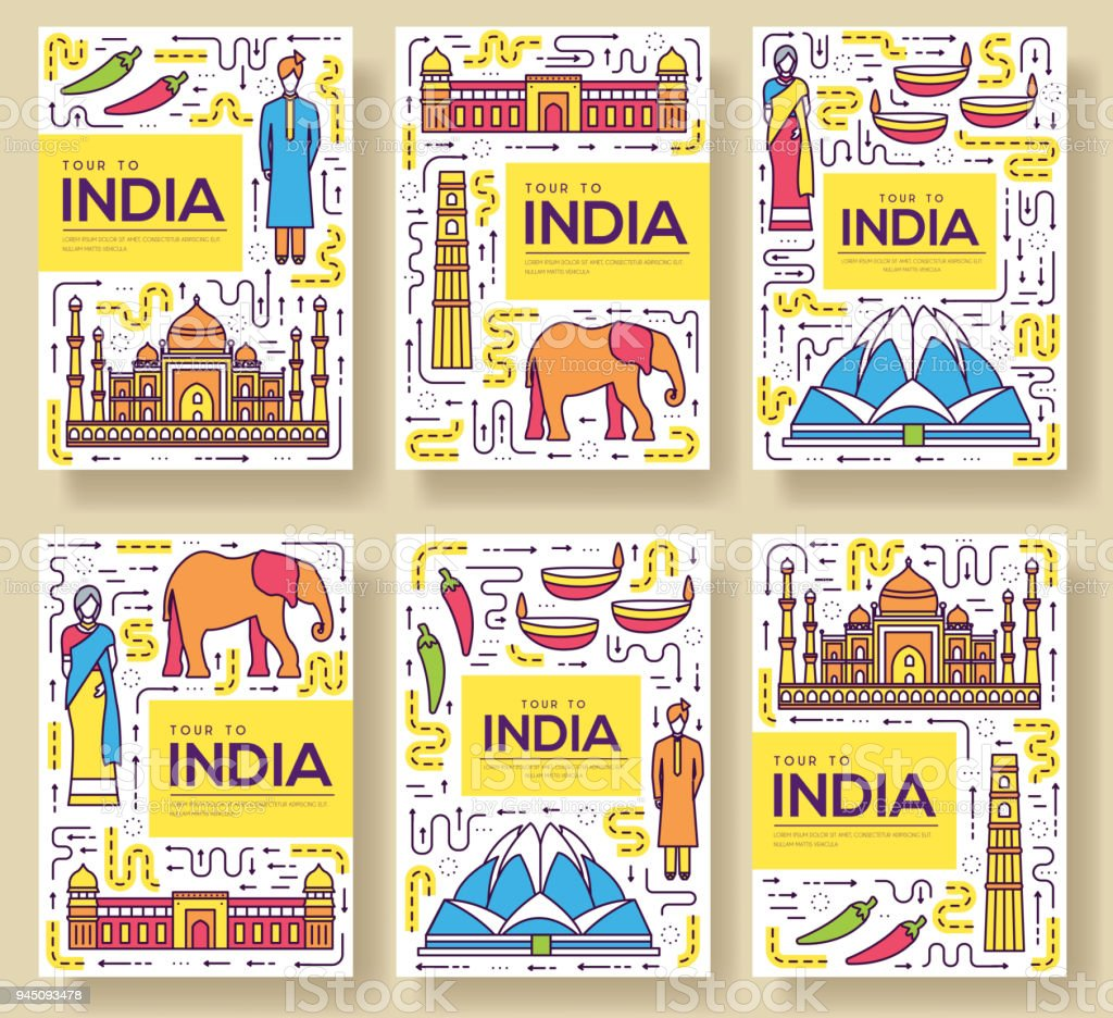 India vector brochure cards thin line set. Country travel template of flyear, magazines, posters, book cover, banners. Layout culture monument outline illustrations modern pages vector art illustration