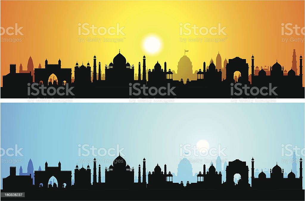 India (Each Building is Moveable and Complete) royalty-free stock vector art