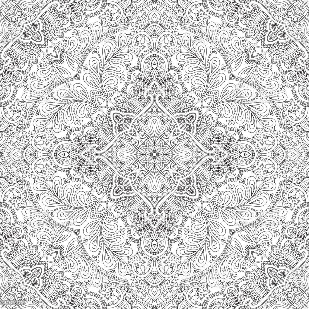 India vector paisley pattern, decorative ornament for textile, wrapping or bandana decor. Bohemian style kerchief design. vector art illustration
