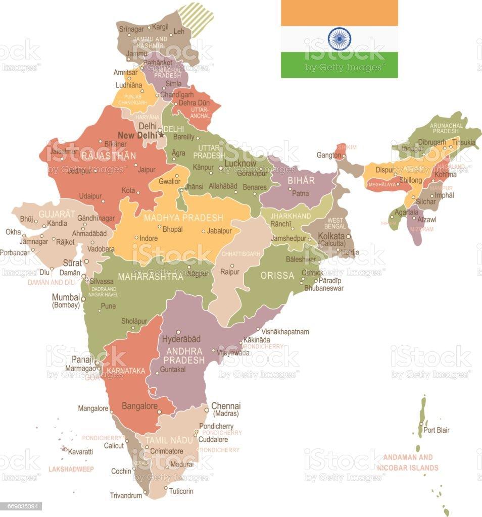 Indien Vintage Karta Och Flagga Illustration Vektorgrafik Och Fler
