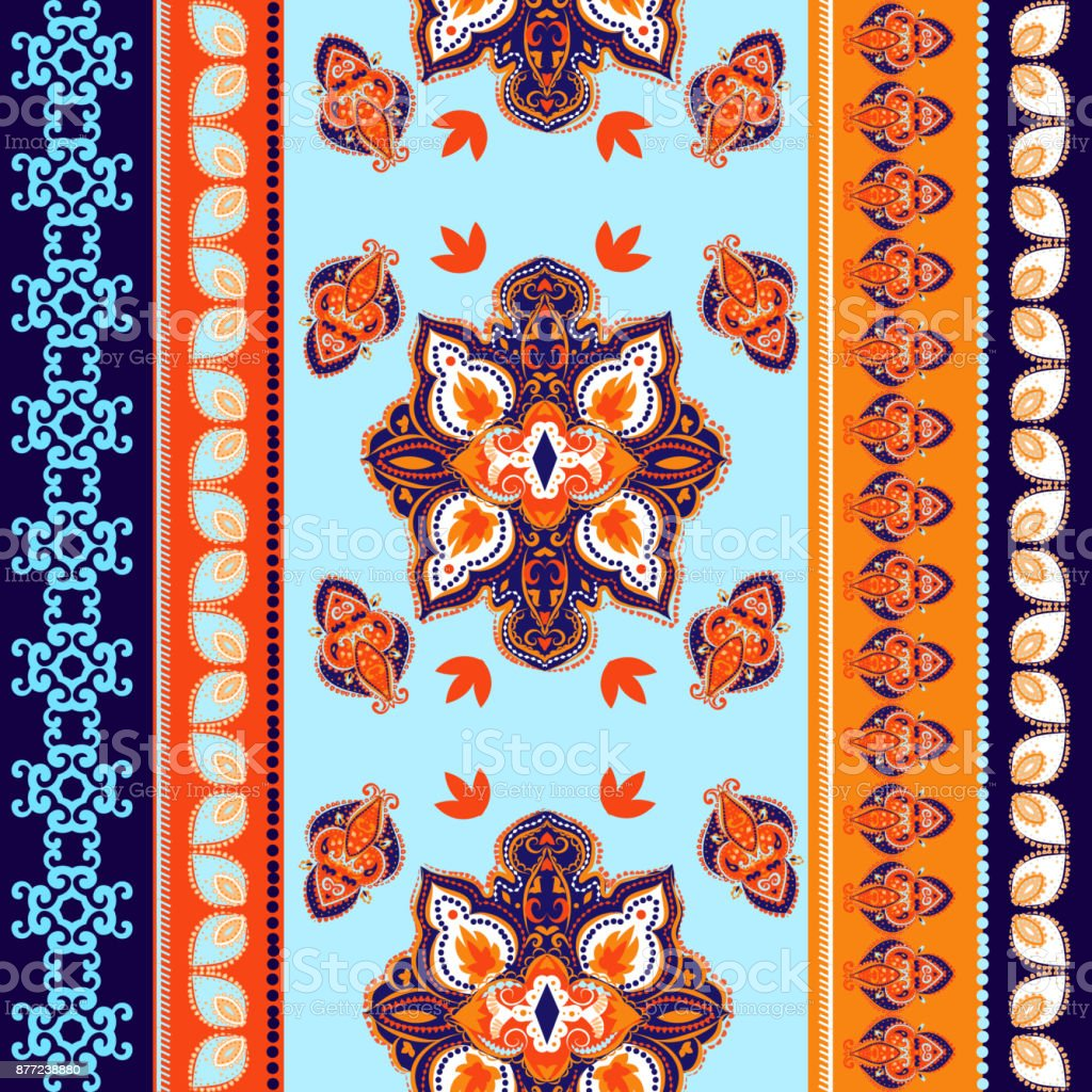 Indian abstract medallion pattern.Boho and gypsy style. Ethnic paisley ornament. vector art illustration