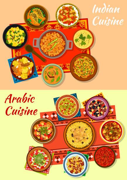 Icono de platos de cocina India y árabe - ilustración de arte vectorial