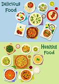 Indian and georgian cuisine icon set design