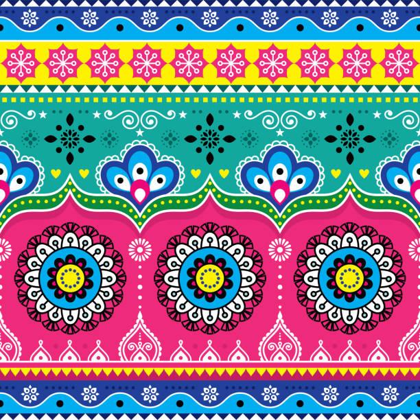 stockillustraties, clipart, cartoons en iconen met indiase en pakistaanse vrachtwagen kunst design, jingle vrachtwagens naadloze vector patroon, kleurrijke florale repetitieve decoratie - indiase cultuur