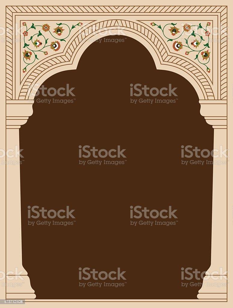 Indian Antique Floral Arch vector art illustration