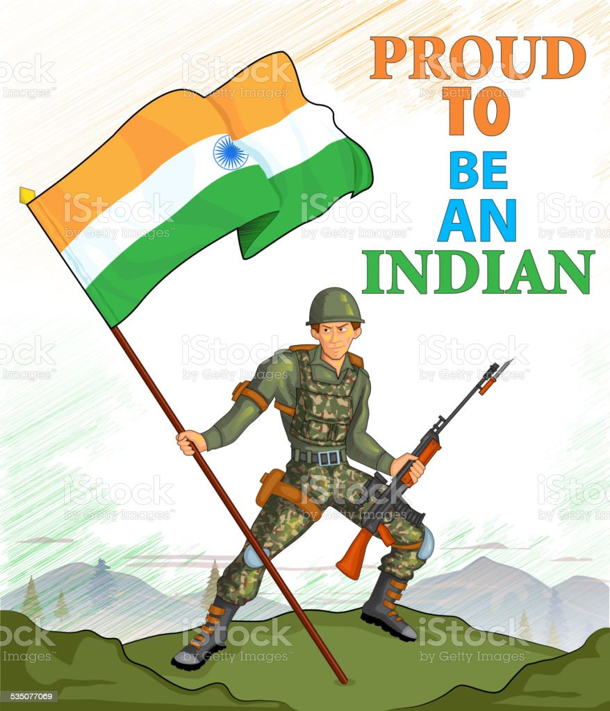 Indian Army Showing Victory Of India Stock Illustration