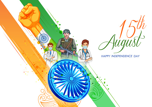 Indian Army soilder and doctor, nation hero on Pride of India on 15th August Happy Independence Day background