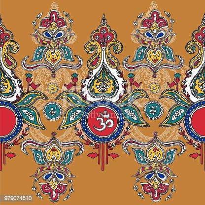 Indian Ashram Background Symbol Lord Shiva Ompattern Hindu ...  Indian Ashram B...
