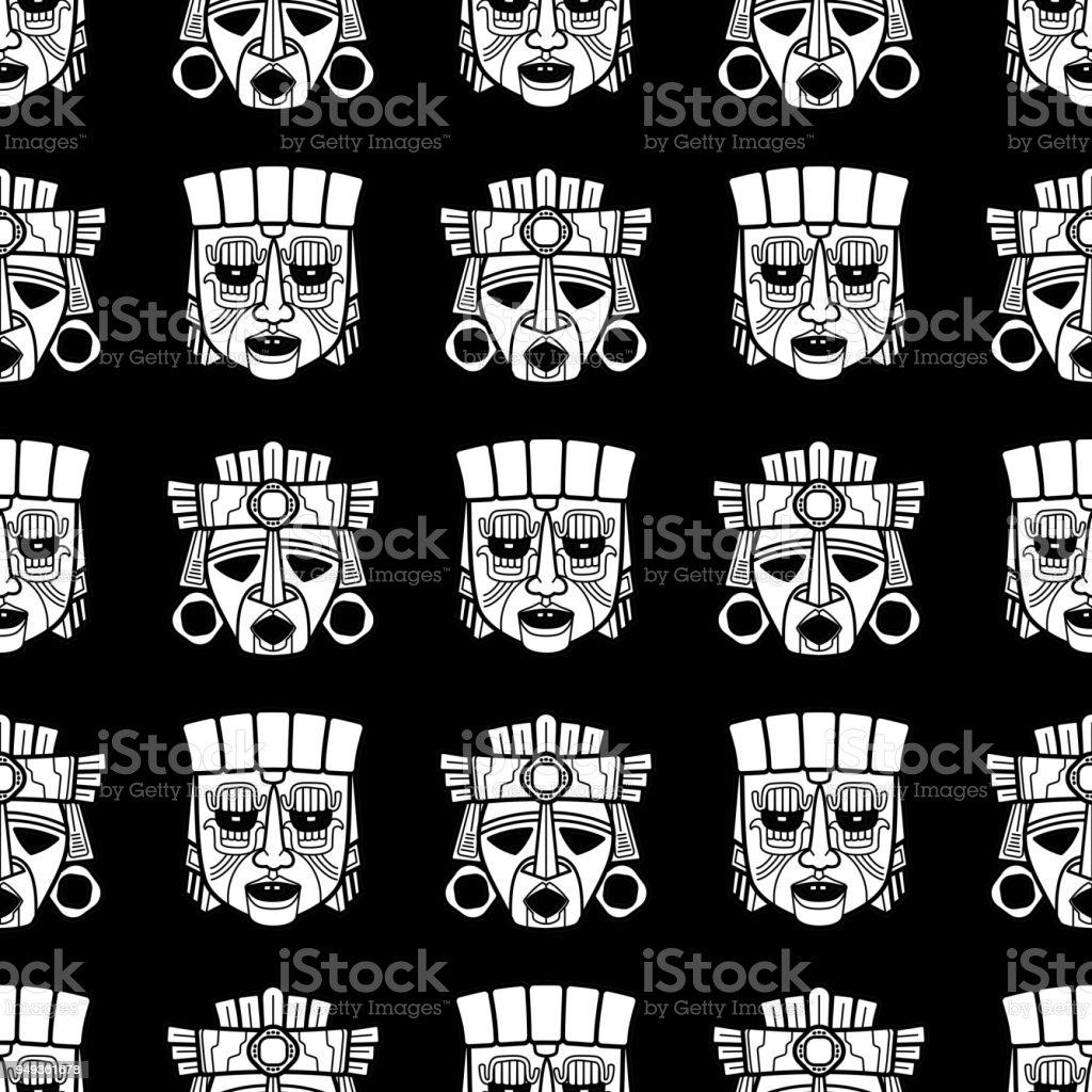 Indische Azteken Und Afrikanische Stammesvodoo Maske Nahtlose Muster ...