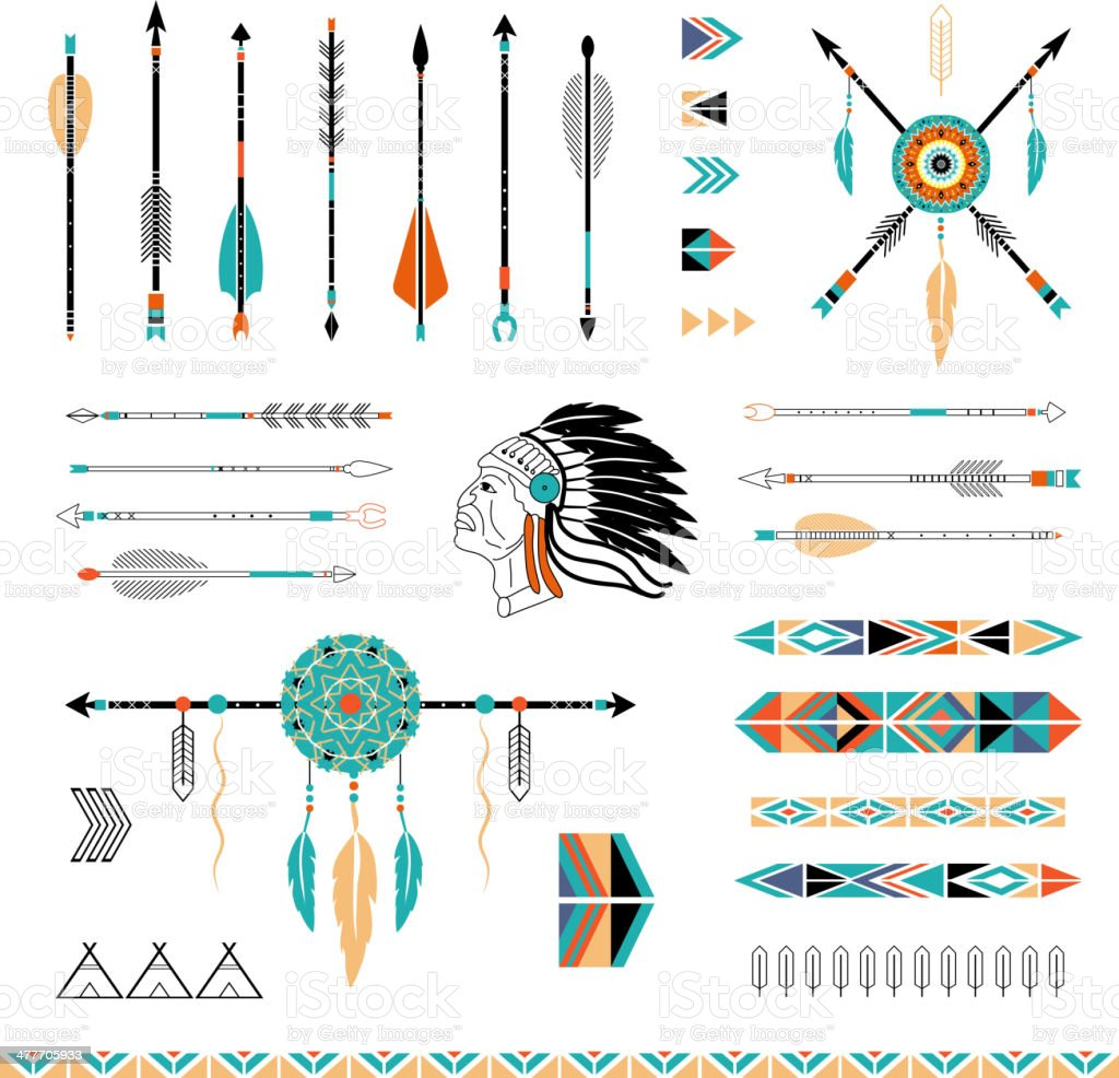 Indian, Aztec arrows, teepees and embellishments vector art illustration