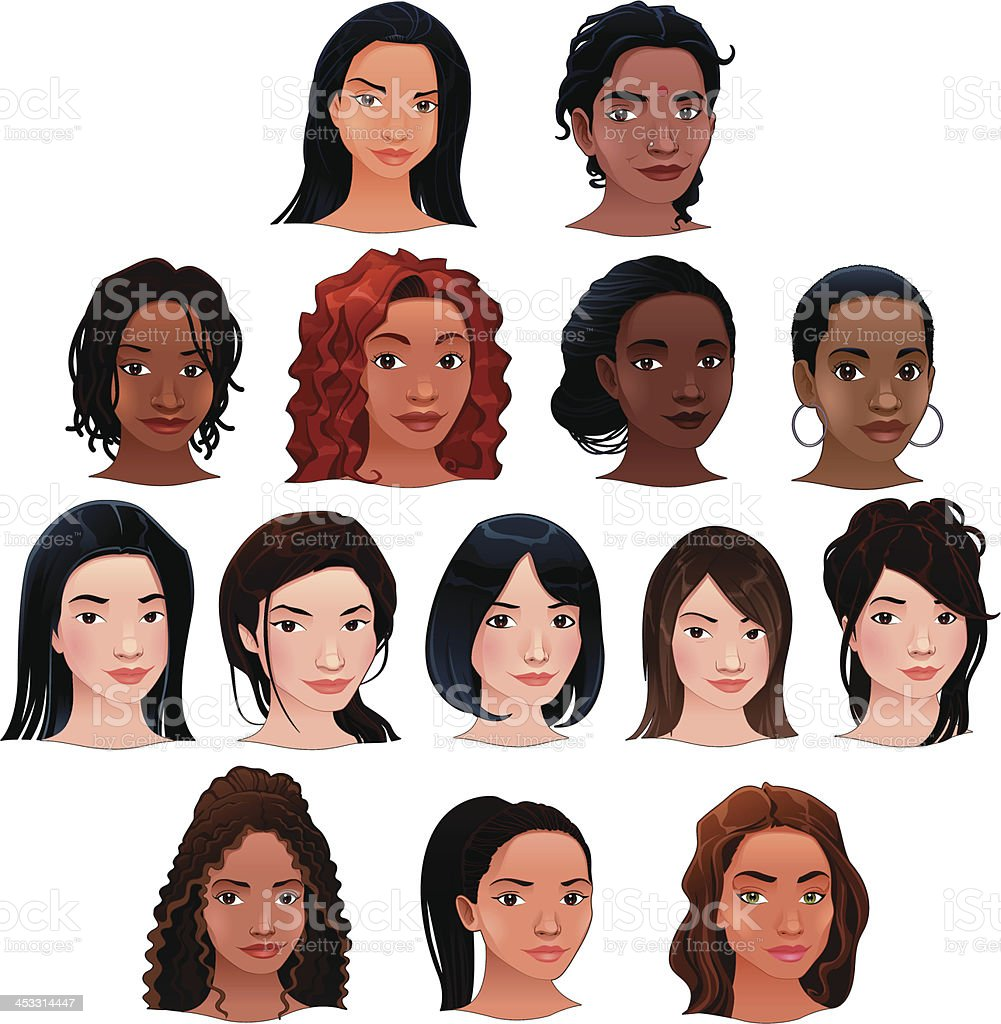 Indian, black, asian and latino women. vector art illustration