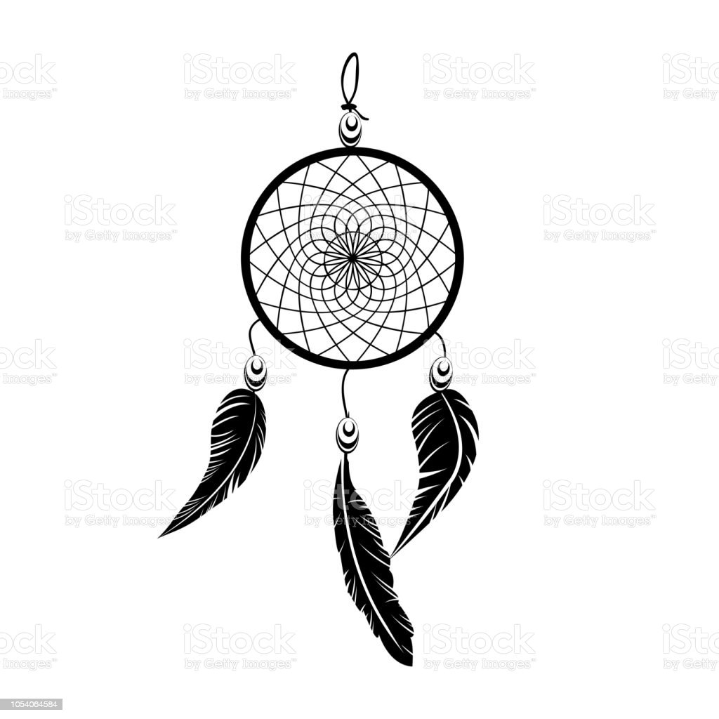 Indiase Zwart Dream Catcher Vector Dromenvanger Tattoo Op