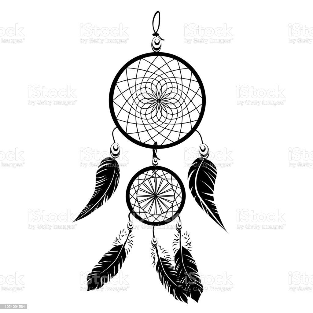 Ilustración De Tatuaje De Atrapasueños De Vector Sueño Negro Indio