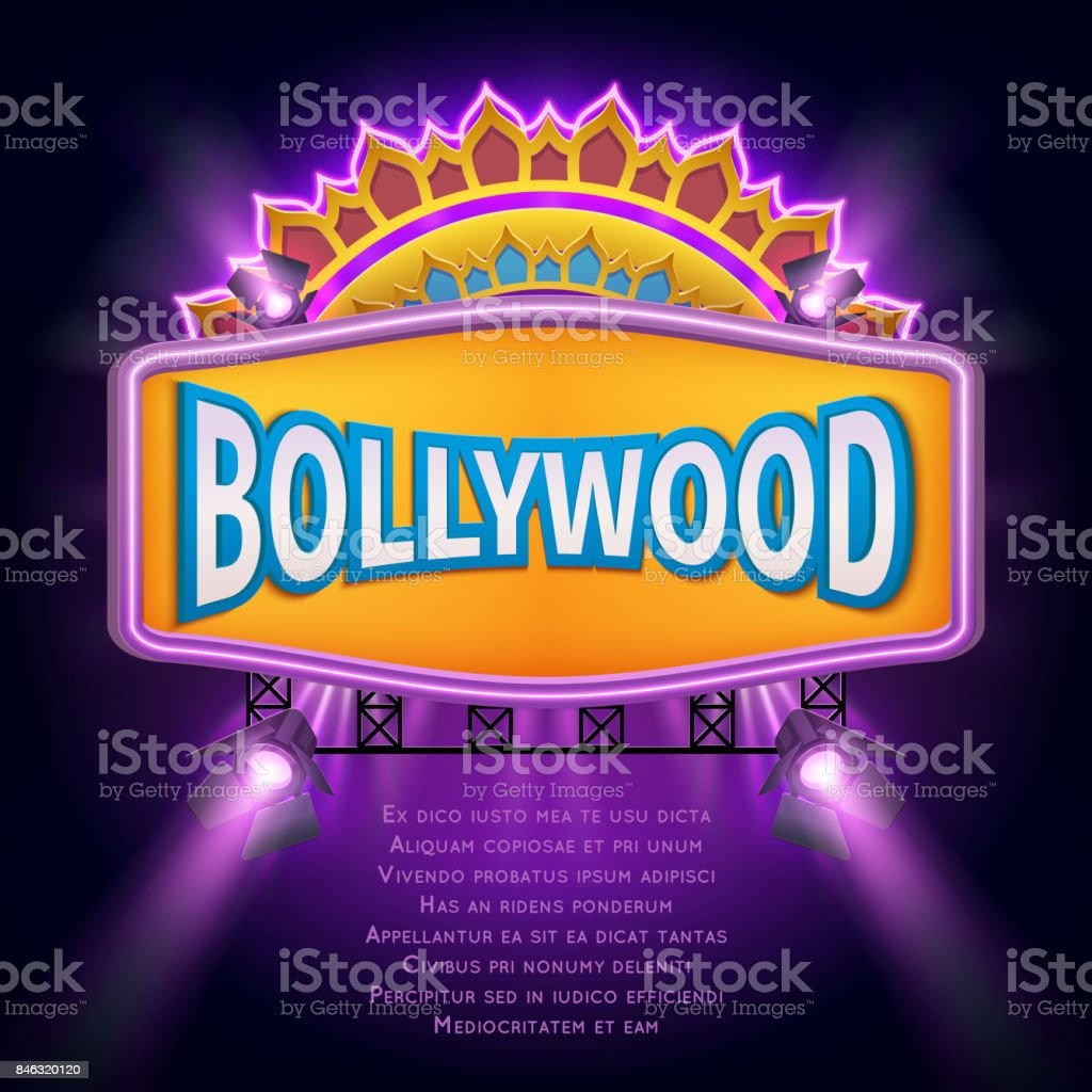 Indian bollywood cinema vector sign board vector art illustration