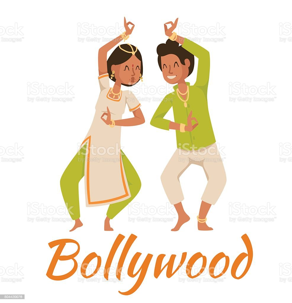 Indian Bollywood couple dancing vector vector art illustration