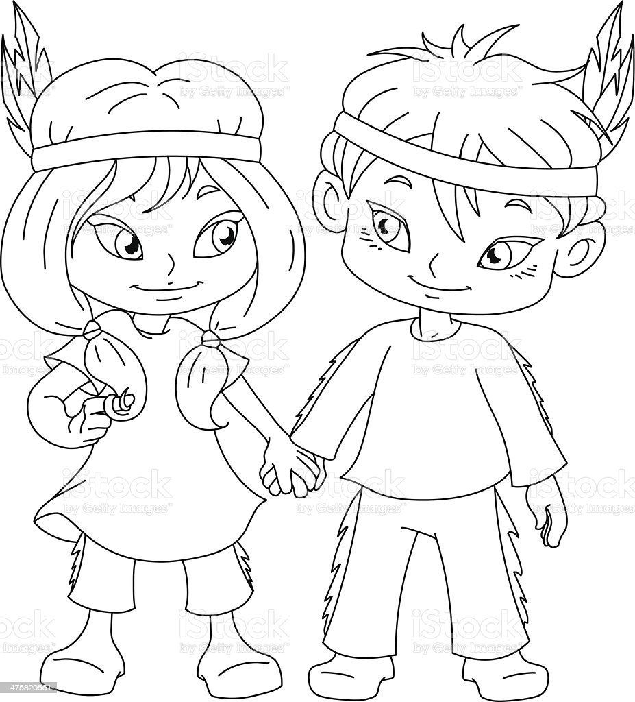 Indian Boy And Girl Holding Hands For Thanksgiving Coloring Page Royalty Free Stock Vector Art
