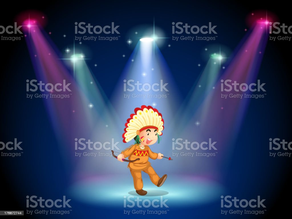 Indian boy dancing with spotlights royalty-free stock vector art