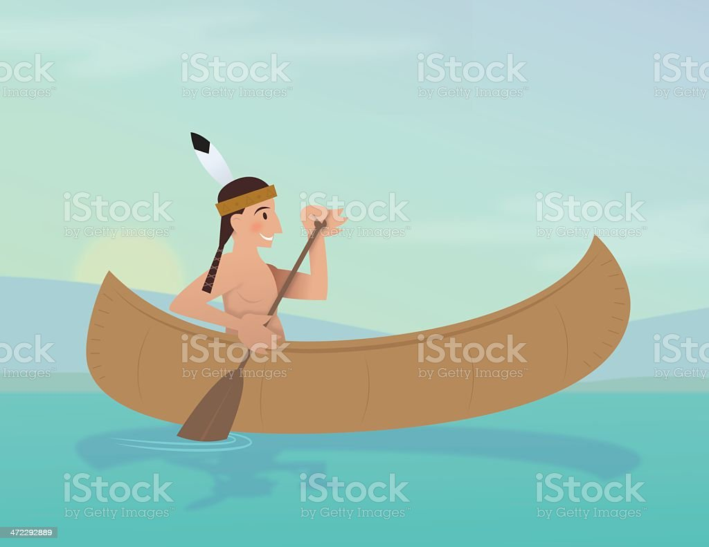 Indian Brave paddling a canoe royalty-free indian brave paddling a canoe stock vector art & more images of canoe