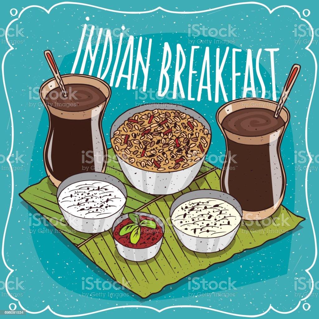 Déjeuner indien pour deux personnes avec muesli - Illustration vectorielle