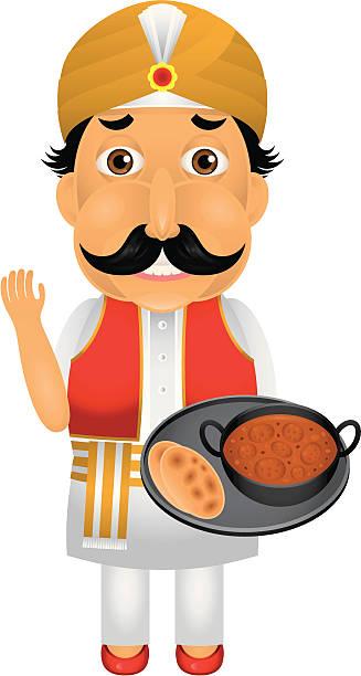 インド人シェフの文字 - インド料理点のイラスト素材/クリップアート素材/マンガ素材/アイコン素材