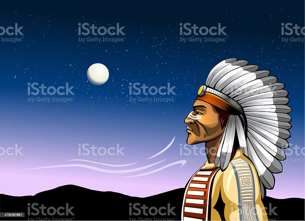 indian chief and the wind of change vector art illustration