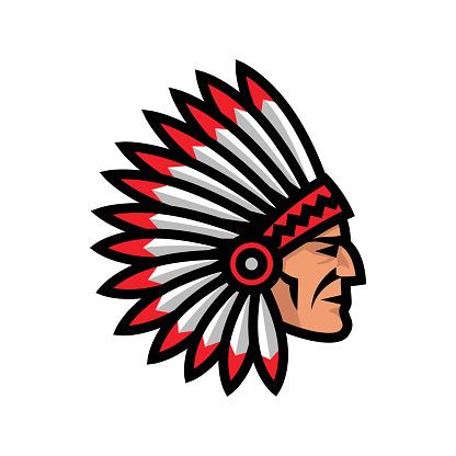 Indian Chief Head Icon. Native american mascot.