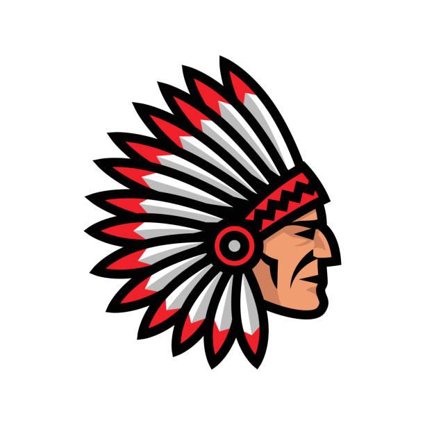Ícone de cabeça chefe índio. Mascote do nativo americano. - ilustração de arte em vetor