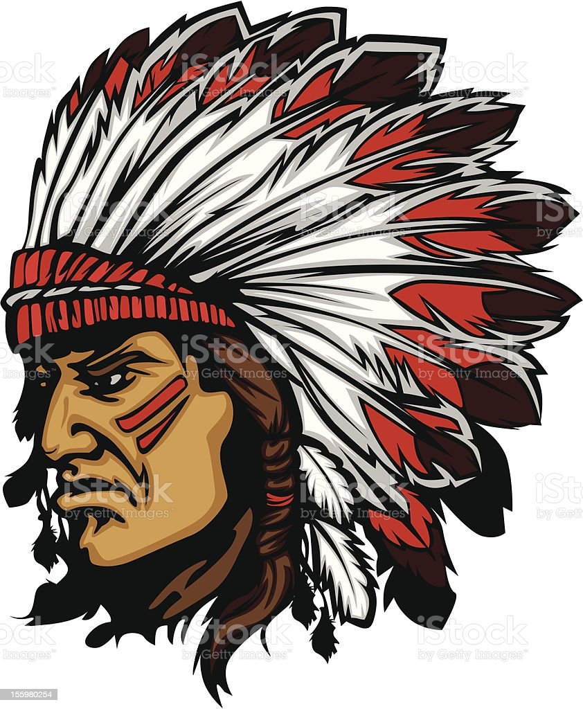 Indian Chief Mascot Head Vector Graphic vector art illustration
