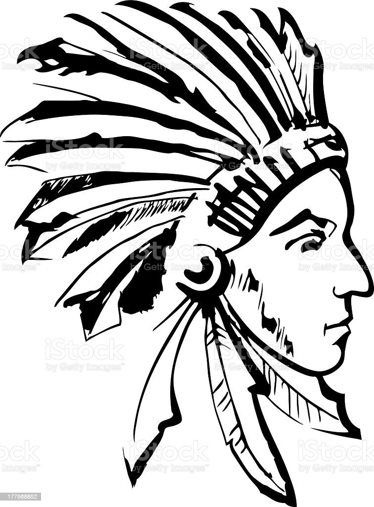 Indian chief (black and white) royalty-free stock vector art