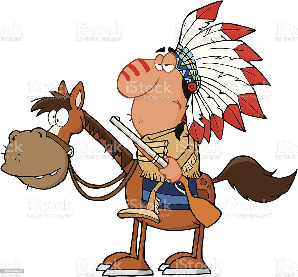 Indian Chief With Gun royalty-free stock vector art