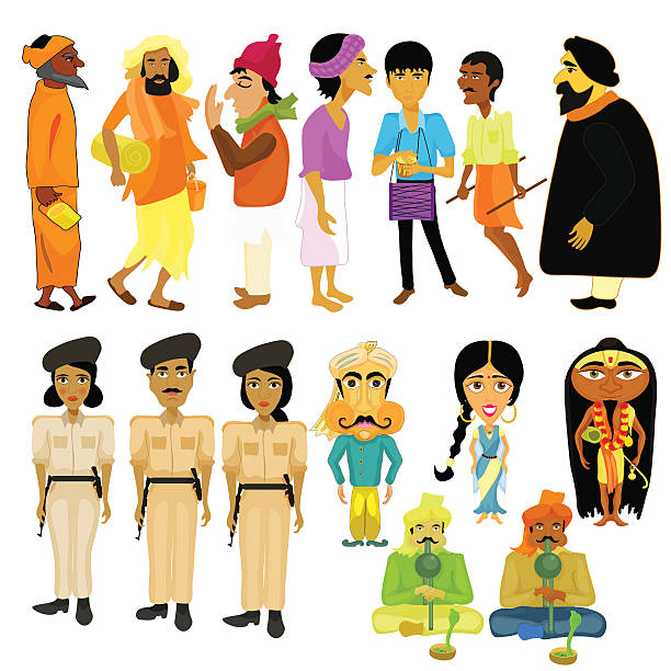 indian citizens set different policeman. vector illustration - varanasi stock-grafiken, -clipart, -cartoons und -symbole
