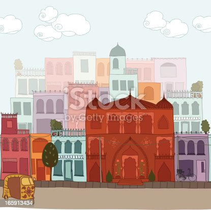 A hand drawn Indian cityscape, including buildings, an auto rickshaw, a bicycle, trees etc. Elements can all be used individually. (Includes .jpg)