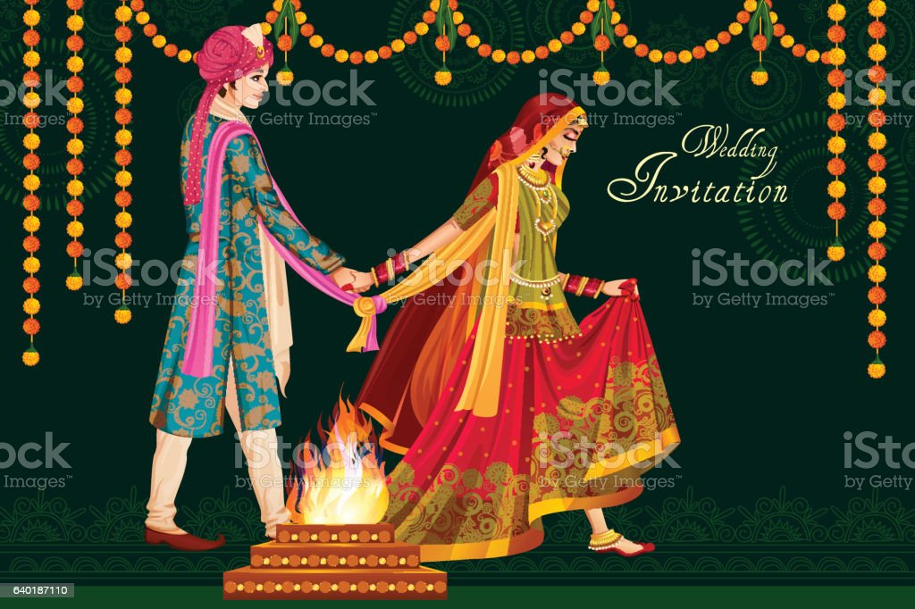 Indian couple in wedding Satphera ceremony of India vector art illustration