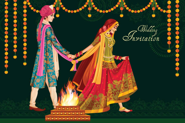 ilustraciones, imágenes clip art, dibujos animados e iconos de stock de indian couple in wedding satphera ceremony of india - casados