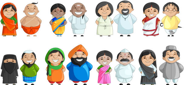 Indian Couple of different Culture vector illustration of Indian couple of different culture indian family stock illustrations