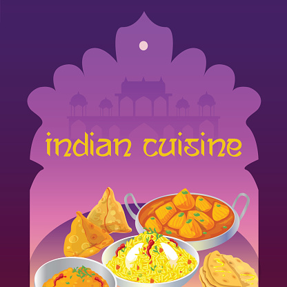 Indian cuisine beautiful poster with traditional indian dishes