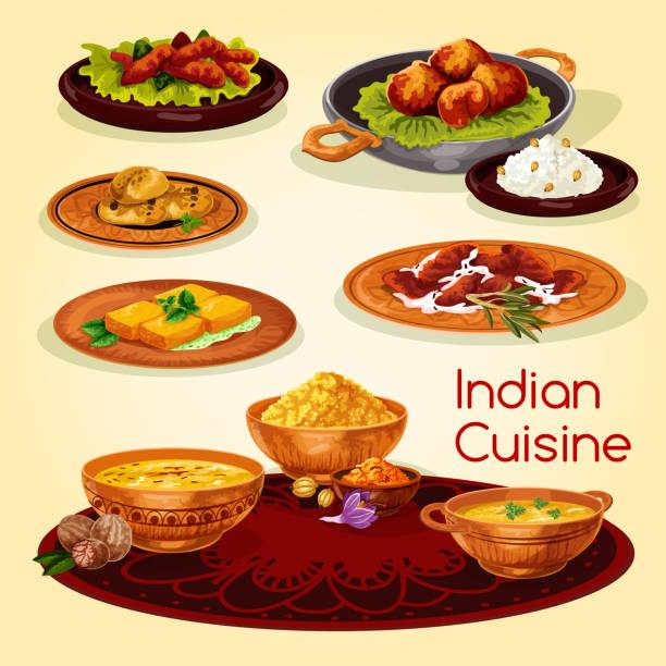 ilustraciones, imágenes clip art, dibujos animados e iconos de stock de platos de cena de cocina india de la historieta diseño de menú - comida india