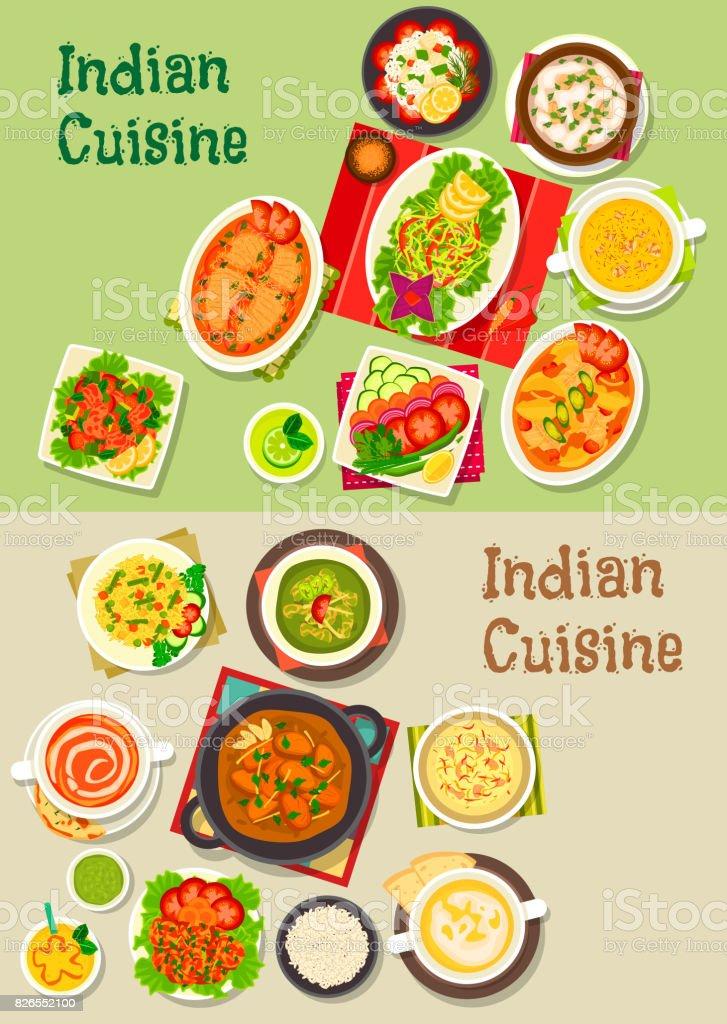 Indische Gerichte Für Restaurantmenüdesign Stock Vektor Art und mehr ...
