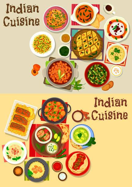 ilustraciones, imágenes clip art, dibujos animados e iconos de stock de icono de cena saludable cocina india escenografía - comida india