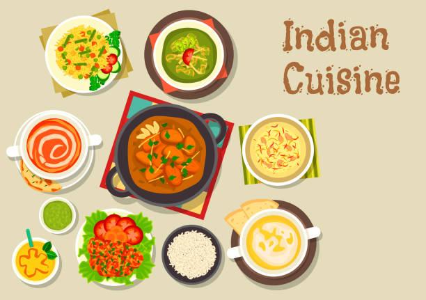 ilustraciones, imágenes clip art, dibujos animados e iconos de stock de indian cuisine icon of popular dishes with dessert - comida india
