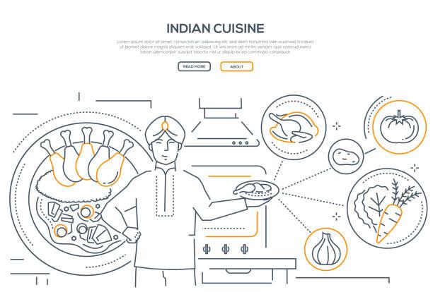 ilustraciones, imágenes clip art, dibujos animados e iconos de stock de cocina india - bandera de estilo de diseño de línea - comida india