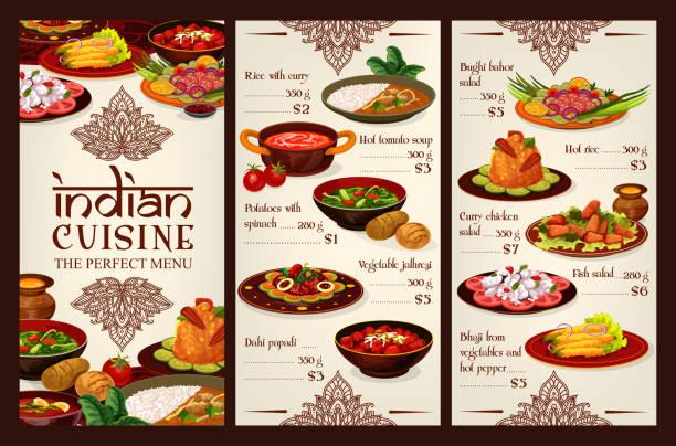 インド料理メニュー, アジア料理の食べ物の価格 - カレー点のイラスト素材/クリップアート素材/マンガ素材/アイコン素材