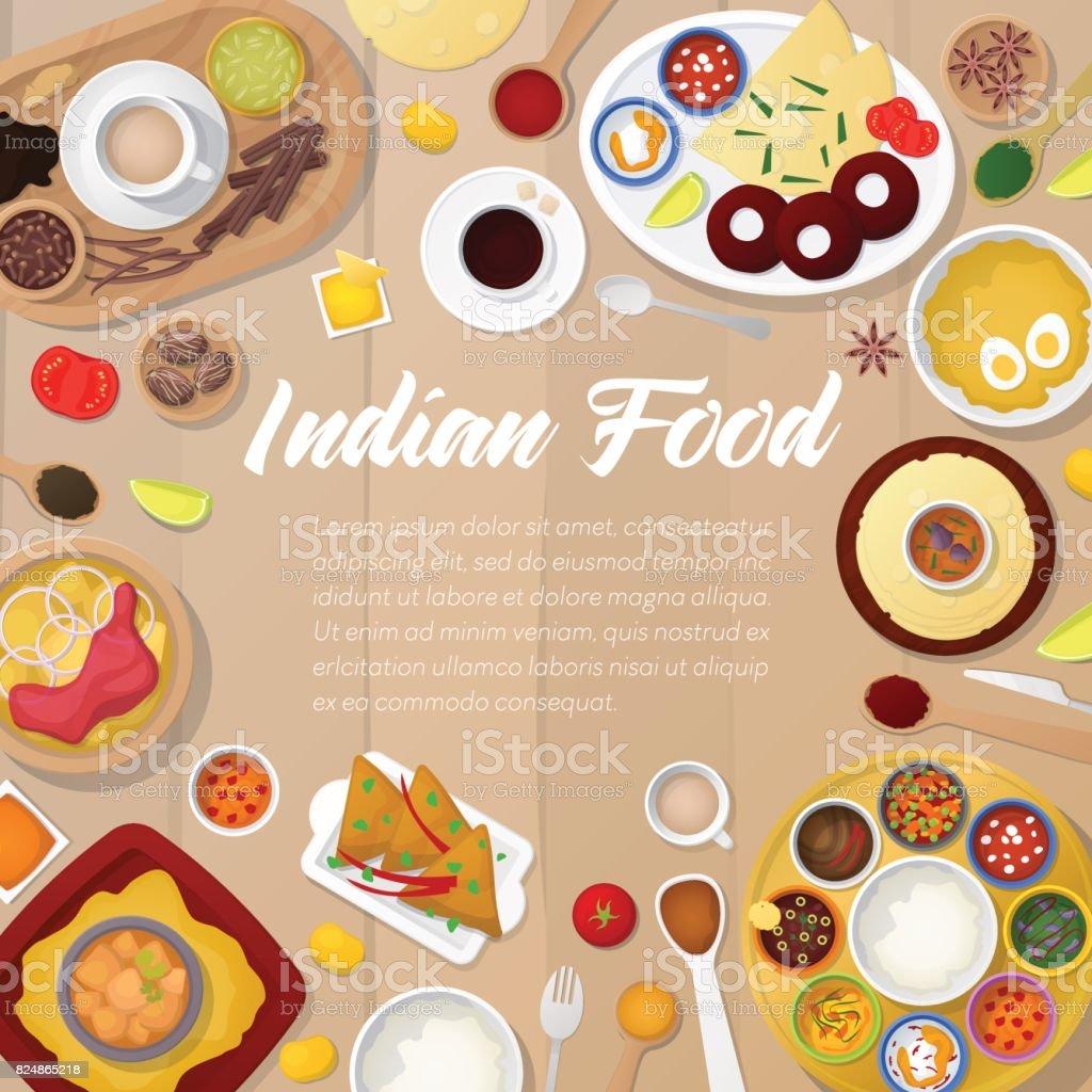 Ilustración de Plantilla De Menú De Cocina De La India Con Pollo ...