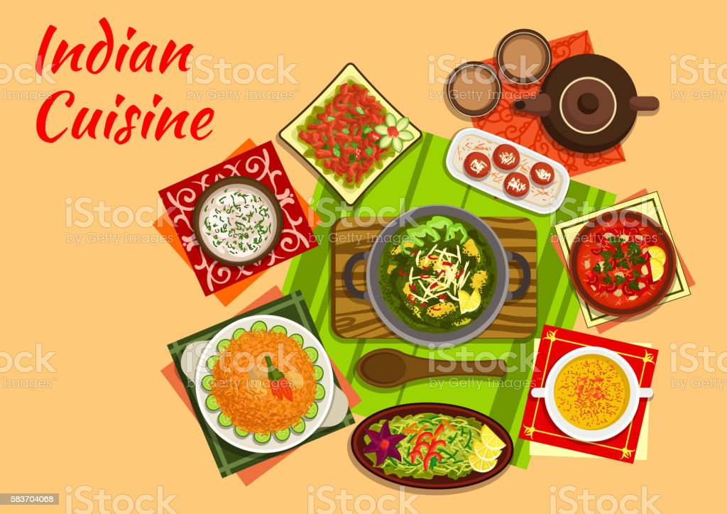 Indian cuisine menu with dishes and desserts - ilustración de arte vectorial